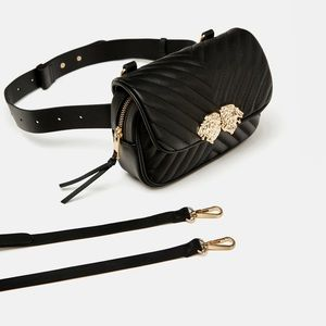 Zara crossbody lion head black belt bag NEW TAG